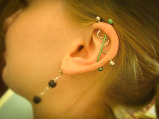 pretty double industrial  piercing